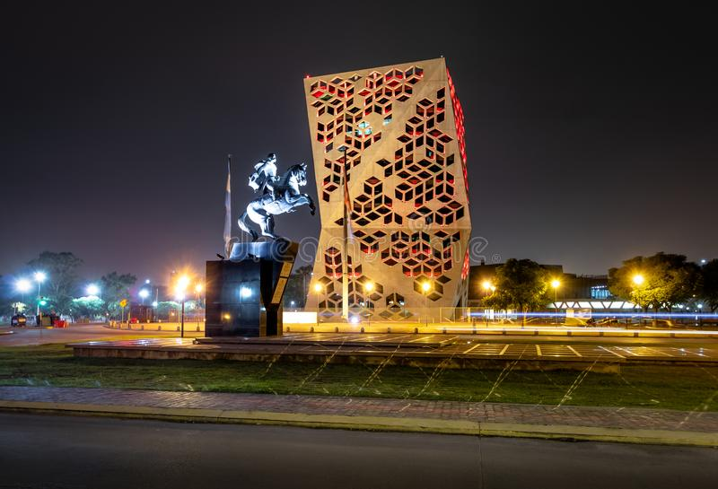 Centro Cívico del Bicentenario and Juan Bautista Bustos Statue at night, Cordoba province government - Cordoba, Argentina. Cordoba, Argentina - May 7, 2018 stock photography