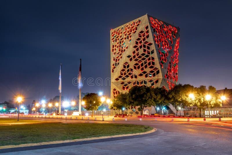 Centro Cívico del Bicentenario Bicentenary Civic Center at night, Cordoba province government - Cordoba, Argentina. Cordoba, Argentina - May 7, 2018: Centro C stock images