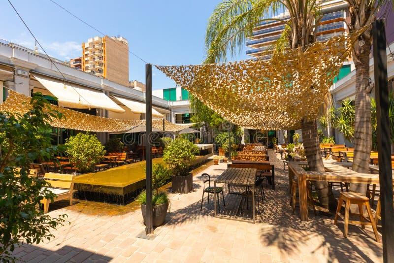 Cordoba Argentina outdoor restaurant with modern architecture stock photos