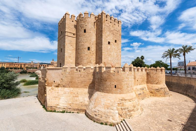 Cordoba Calahorra Tower. fortress of Islamic origin conceived as an entrance and protection Roman Bridge of Cordoba. Across Guadalquivir River. Andalusia, Spain royalty free stock image