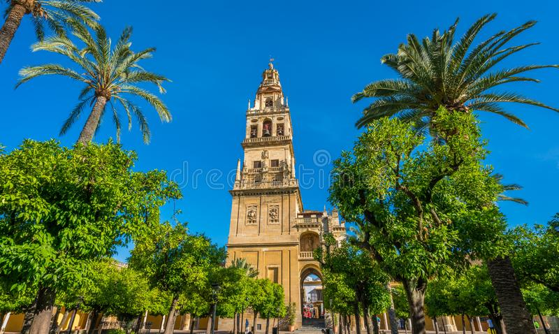 Bell Tower of Cordoba Mosque Cathedral on a sunny morning. Andalusia, Spain. stock photos