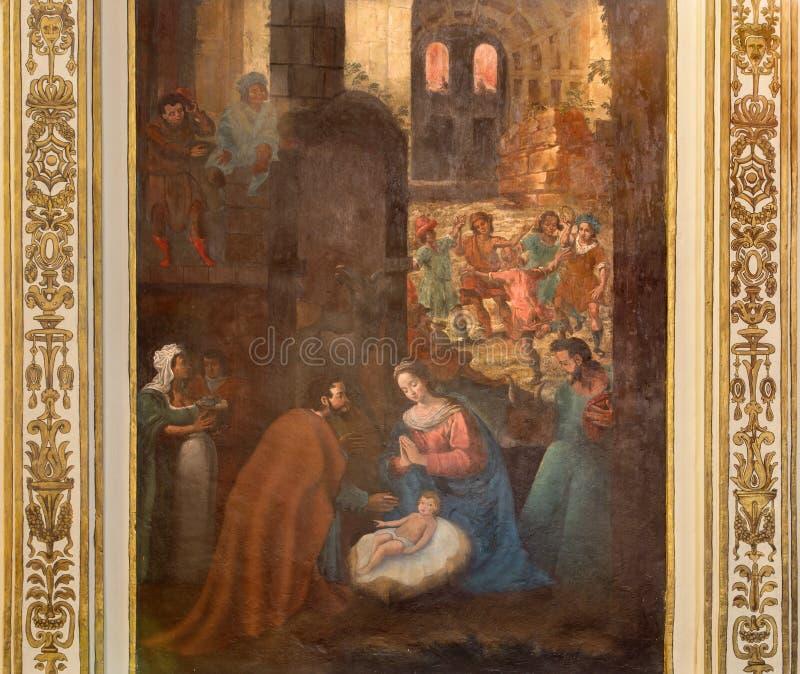 Cordoba - de Geboorte van Christusfresko van 17 cent stock afbeeldingen