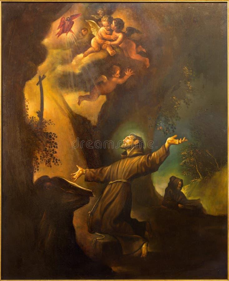 Cordoba - de moderne verf van de Brandmerking van St Francis van Assisi van 20 cent in kerk Convento DE Capuchinos royalty-vrije stock foto's