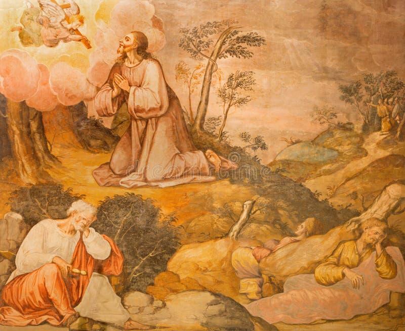 Cordoba - den Jesus bönen i Gethsemane grarden freskomålningen från 17 cent vid den okända konstnären i kyrkliga Iglesia San Nico royaltyfri fotografi