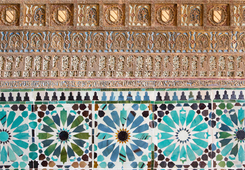 Cordoba - The detail of mudejar stucco and tiling in Capilla San Bartolome chapel. CORDOBA, SPAIN - MAY 26, 2015: The detail of mudejar stucco and tiling in stock images