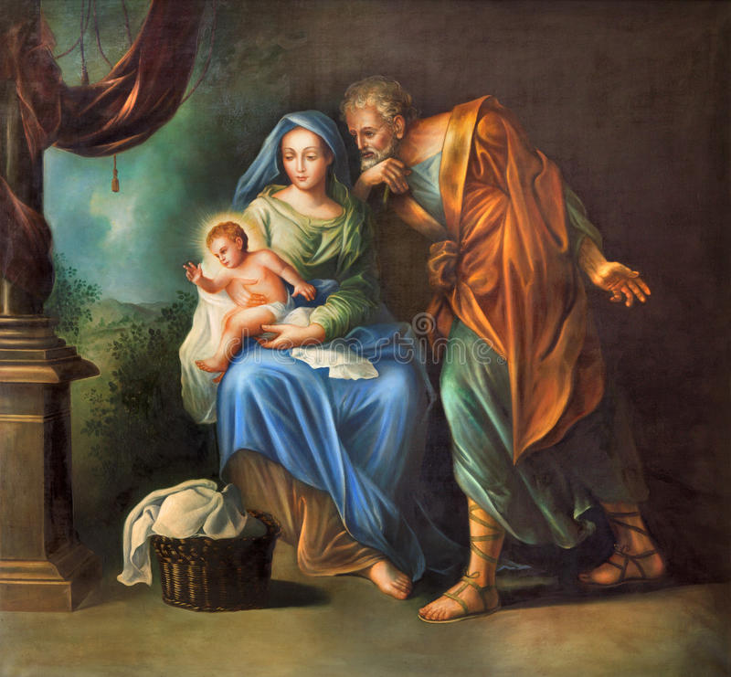 Cordoba - die heilige Familienmalerei in der Kirche Convento de Capuchinos (Iglesia Santo Anchel) lizenzfreie stockbilder
