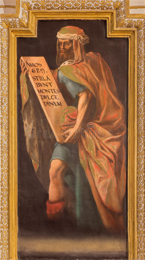 Cordoba - fresko van helderziende Amos binnen in kerk Iglesia DE San Augustin van 17 cent door Cristobal Vela en Juan Luis Zambra royalty-vrije stock afbeelding
