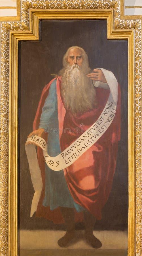 Cordoba - fresko van helderziende Isaiah binnen in kerk Iglesia DE San Augustin van 17 cent door Cristobal Vela en Juan Luis Zamb stock fotografie