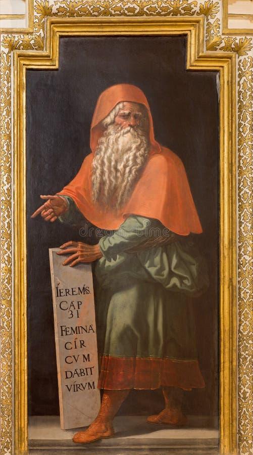 Cordoba - fresko van helderziende Jeremiah in kerk Iglesia DE San Augustin van 17 cent door Cristobal Vela en Juan Luis Zambrano royalty-vrije stock afbeeldingen