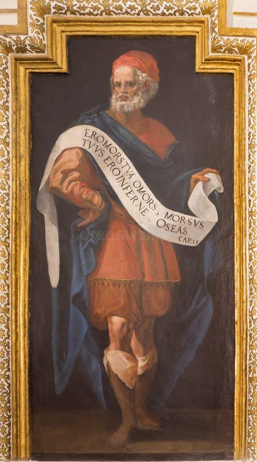 Cordoba - freskomålning av profeten Hosea från 17 cent vid Cristobal Vela och Juan Luis Zambrano i kyrkliga Iglesia de San August arkivfoton