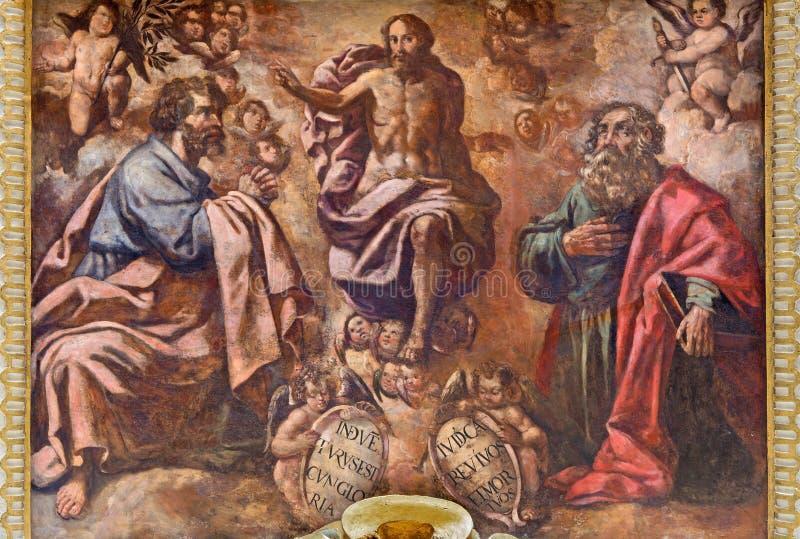 Cordoba - freskomålningen av omgestaltning av Herren från 17 cent arkivfoto