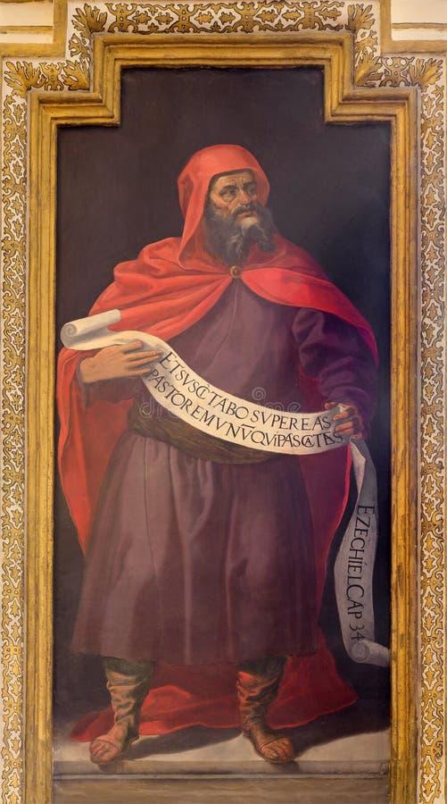 Cordoba - freskomålningen av profeten Ezekiel arkivbild