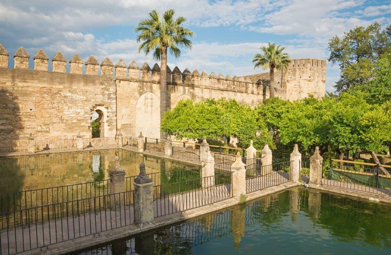 Cordoba - The gardens of Alcazar de los Reyes Cristianos castle in evening. Light royalty free stock images