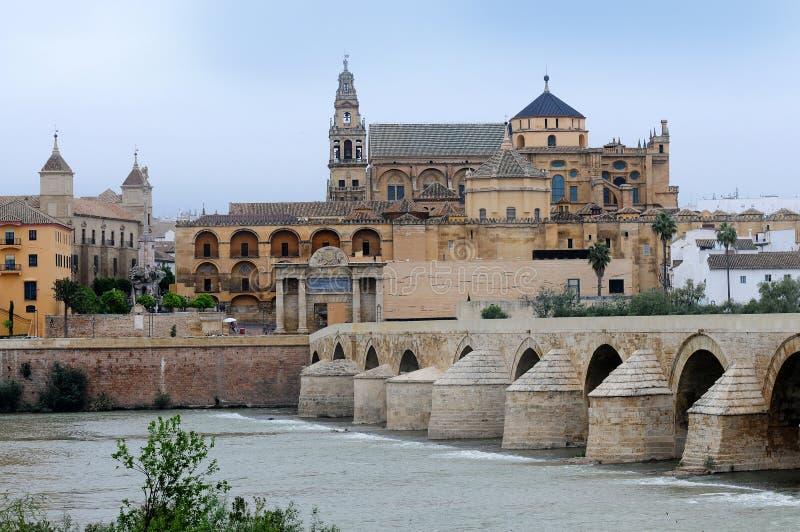 Cordoba. Great Mosque, Roman Bridge and Guadalquivir river, Cordoba, Spain royalty free stock image