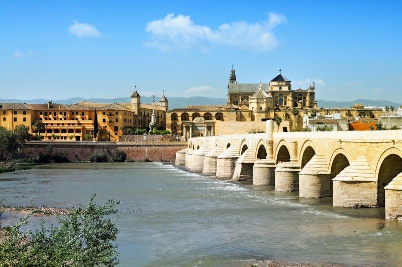 Cordoba. Great Mosque, Roman Bridge and Guadalquivir river, Cordoba, Spain stock photos