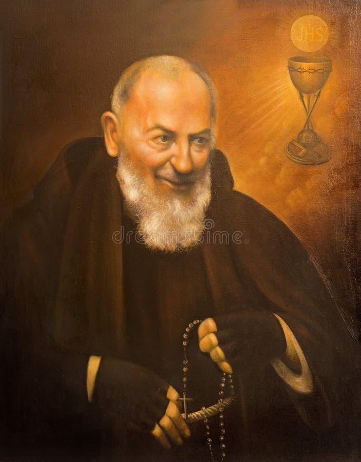 Cordoba - het fijne kunstportret van St Pater Pio (Vader Pio) royalty-vrije stock foto's