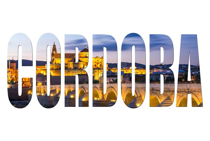 Cordoba letters isolated, post card template stock photo