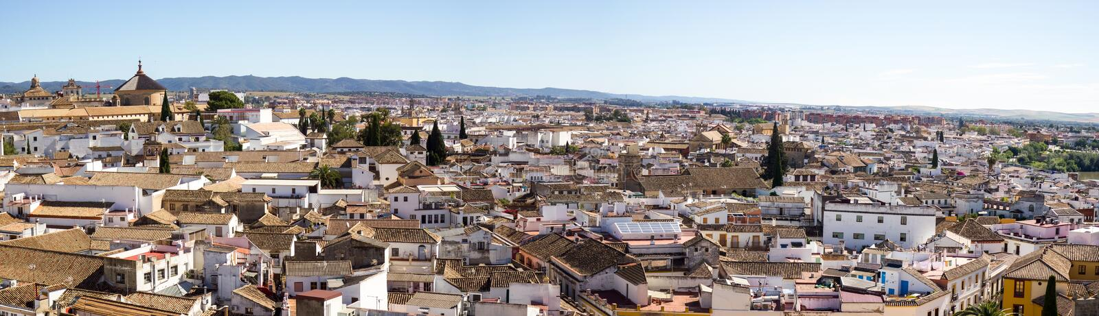 Cordoba panoramic view. Old Mezquita bell tower reopened in 2014 after 24 years of restoration. Beautiful views of Cordoba on top royalty free stock images