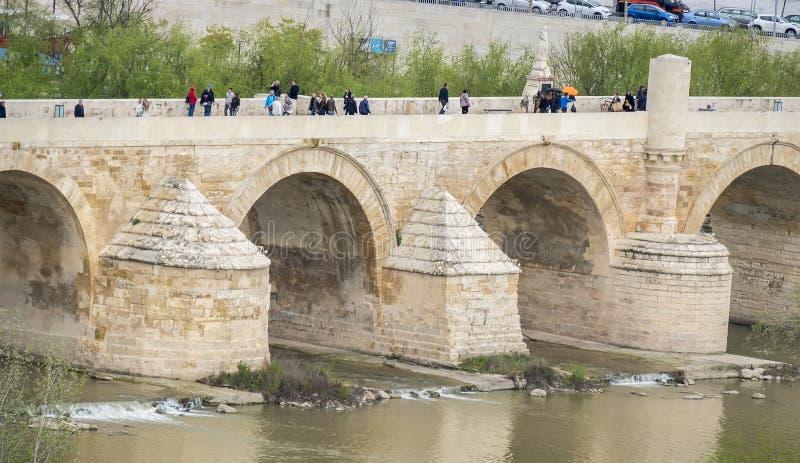 Cordoba Roman bridge over the river Guadalquivir, Spain royalty free stock images