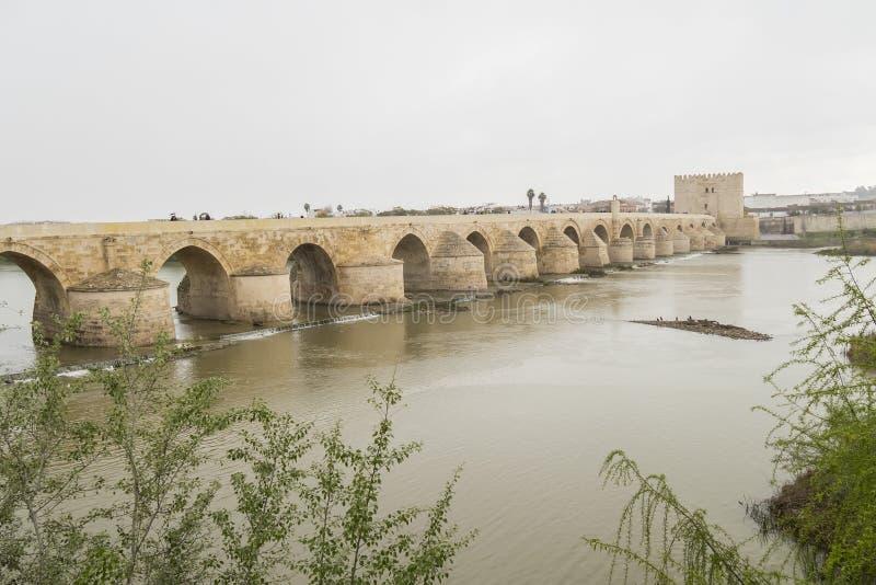 Cordoba Roman bridge over the river Guadalquivir, Spain royalty free stock photo