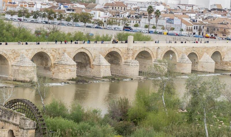 Cordoba Roman bridge over the river Guadalquivir, Spain stock photo