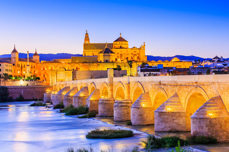 Cordoba, Spain. Cordoba, Spain, Andalusia. Roman Bridge on Guadalquivir river and The Great Mosque Mezquita Cathedral stock photography