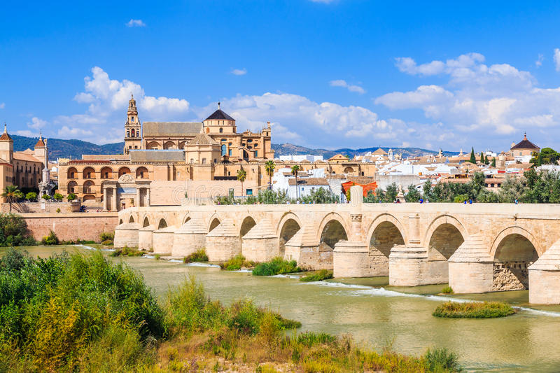 Cordoba, Spain. The Bridge and Mosque Cathedral on the Guadalquivir River royalty free stock image