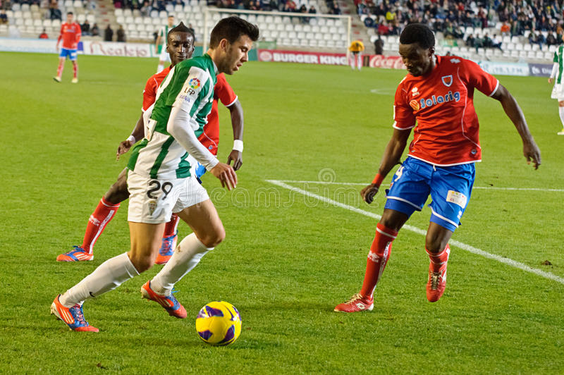 CORDOBA, SPAIN - JANUARY 13:Fede Vico W(29) in action during match league Cordoba(W) vs Numancia (R)(1-0). At the Municipal Stadium of the Archangel on January stock photo