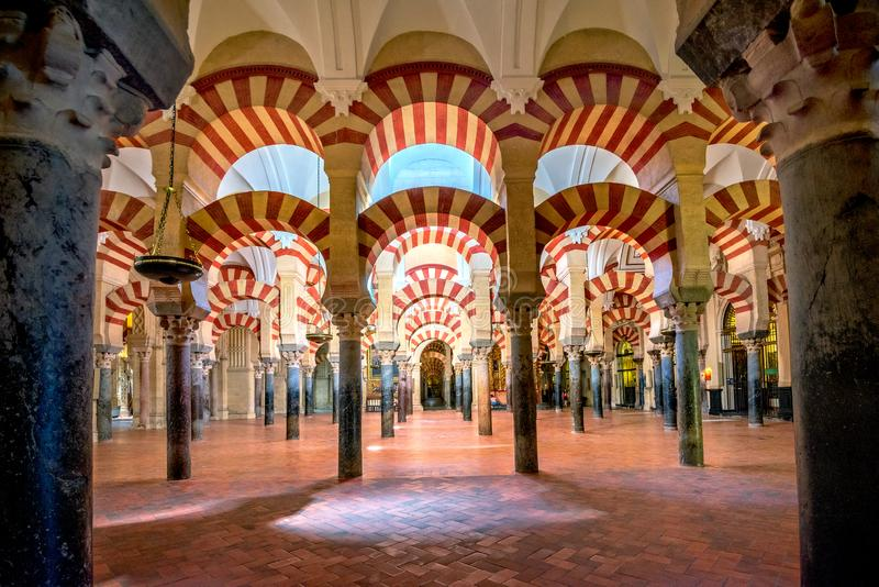 Interior of famous cathedral La Mezquita in Cordoba. Andalusia, Spain royalty free stock photo