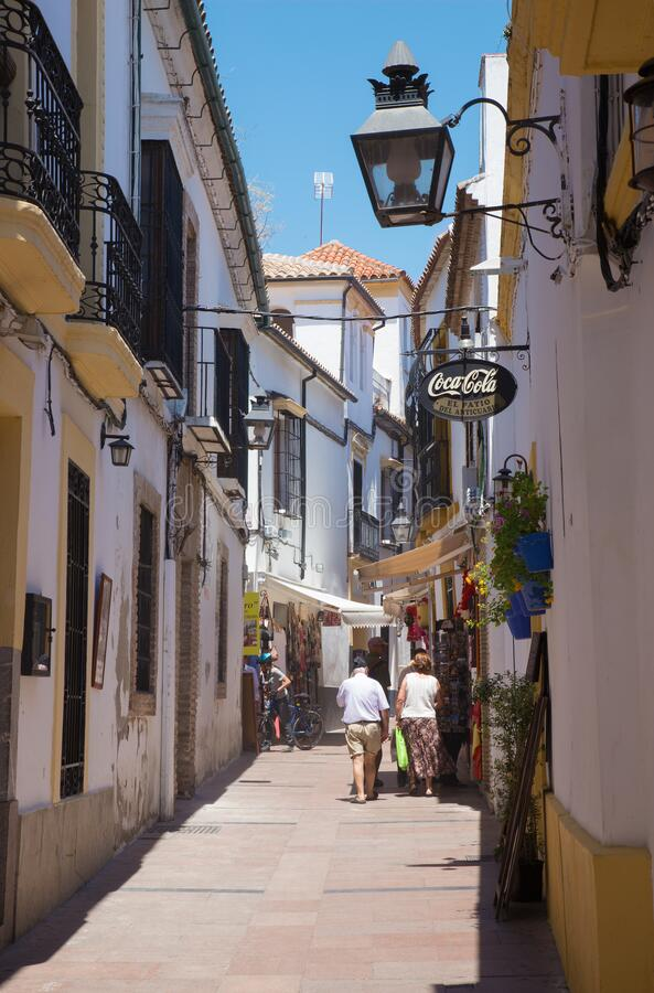 CORDOBA, SPAIN - MAY 28, 2015: The aisle in the centre of old town near the Cathedral royalty free stock photos
