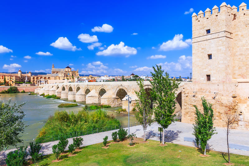 Cordoba, Spain. Roman Bridge and Mezquita Great Mosque Cathedral on the Guadalquivir River stock photo