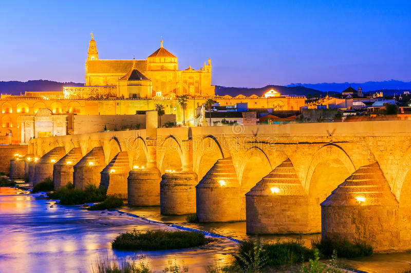 Cordoba, Spain. Roman Bridge and Mosque-Cathedral on the Guadalquivir River royalty free stock photo