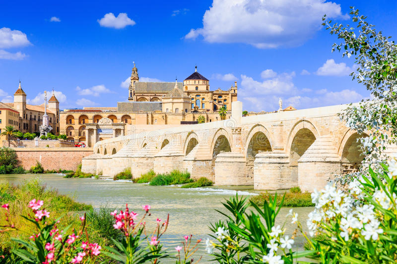 Cordoba, Spain. The Roman Bridge and Mosque Cathedral on the Guadalquivir River stock photography