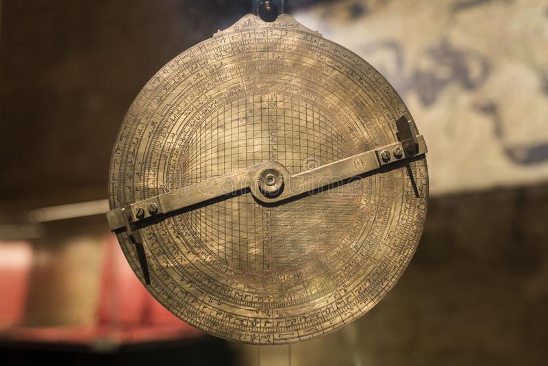 Al-Zarkali Saphaea or Azafea. A perfected kind of astrolabe invented by Ibn Zarqala 11th Century stock photography