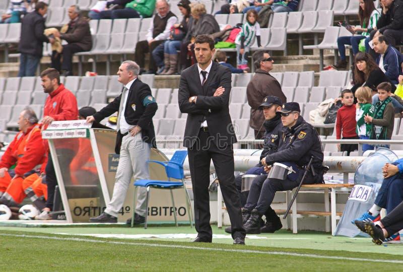 CORDOBA SPANIEN - MARS 17: Javier Gracia Carlos under matchligan Cordoba (W) vs Almeria (R) (4-1) fotografering för bildbyråer