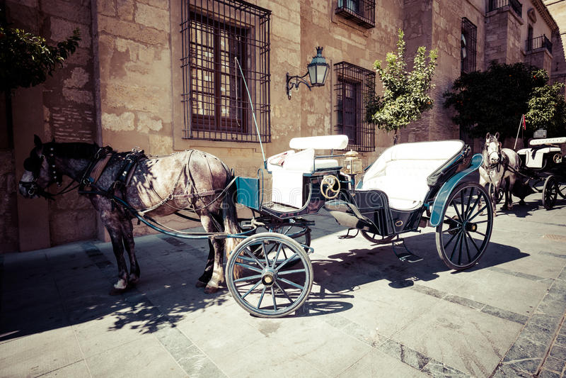 Cordoba Spanien-mars 11,2015: Traditionell häst och vagn på Cordob arkivfoton