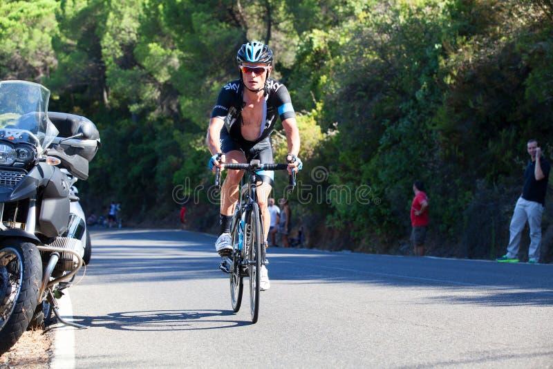 CORDOBA, SPANJE - Augustus zesentwintigste, 2014: Vasyl Kiryienka (Team Sky) tijdens een stadium van La Vuelta royalty-vrije stock foto