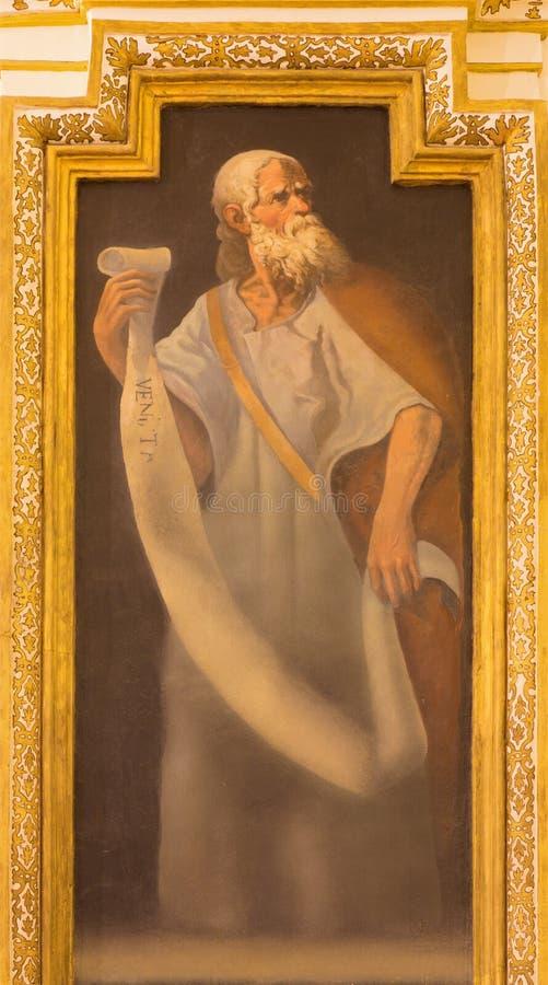 CORDOBA, SPANJE: Fresko van helderziende in kerk Iglesia DE San Augustin van 17 cent door Cristobal Vela en Juan Luis Zambrano royalty-vrije stock afbeelding