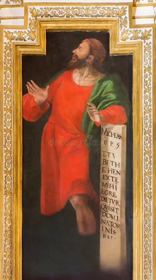 CORDOBA, SPANJE: Fresko van helderziende Micah in kerk Iglesia DE San Augustin door Cristobal Vela en Juan Luis Zambrano stock afbeeldingen