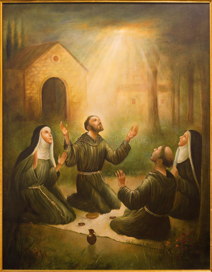Cordoba St Francis Assisi i St Clara przy modlitwą przed Porziuncola w kościelnym Convento De Capuchinos - obraz royalty free