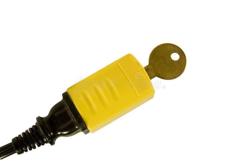 Cordon électrique verrouillé de sécurité image stock