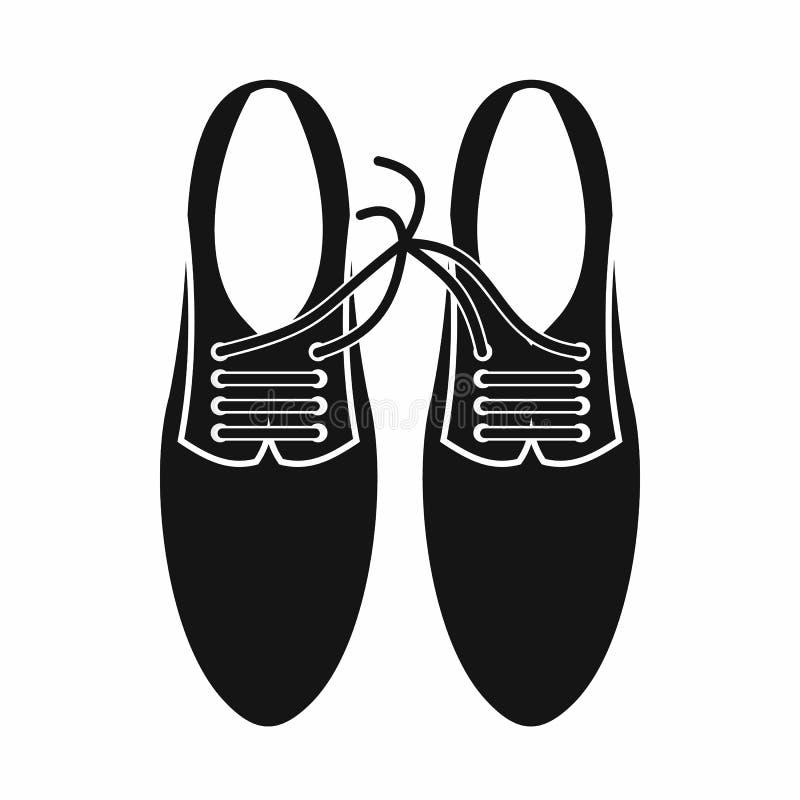 Cordones atados en el icono de la broma de los zapatos, estilo simple ilustración del vector