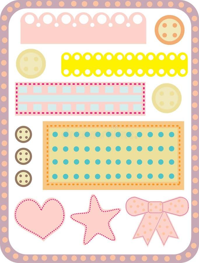 Cordones, botones, rebanadas de la tela imagenes de archivo