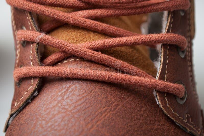 cordones de la bota del invierno para los hombres fotografía de archivo libre de regalías