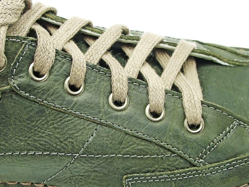 Cordones de zapato en primer fotos de archivo