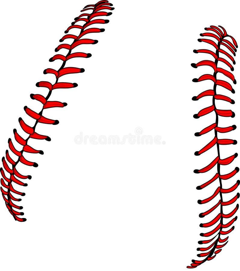 Cordones del béisbol o del beísbol con pelota blanda del vector foto de archivo