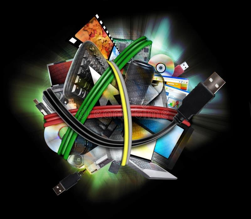 Cordons électroniques de fil de technologie images stock