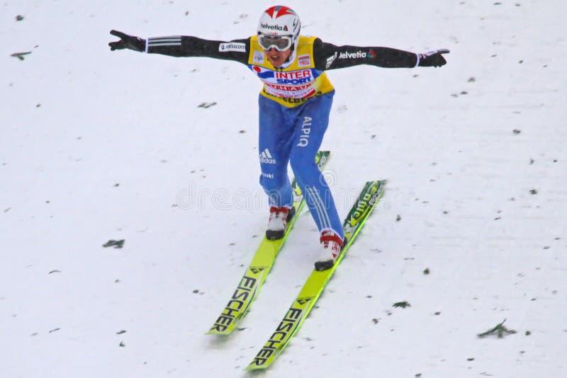 Cordons de Simon Ammann de cavalier de ski photo stock