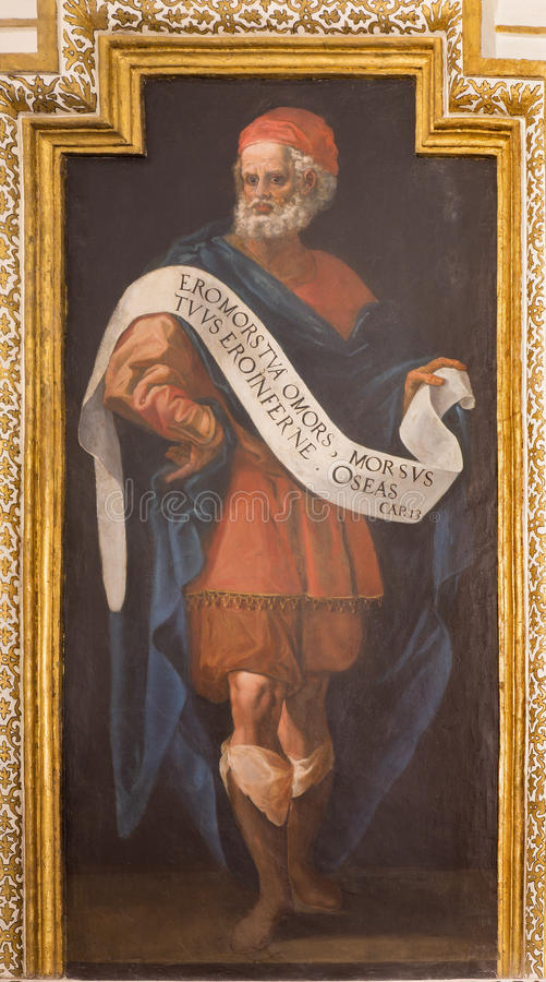 Cordoue - fresque de prophète Hosea de 17 cent par Cristobal Vela et Juan Luis Zambrano dans l'église Iglesia de San Augustin photos stock