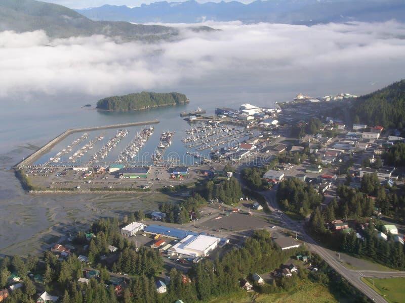 Cordova Boat Harbor, Alaska. Aerial view of Boat Harbor and City of Cordova Alaska stock photography